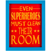 Superheroes Clean Their Room Framed Wood Wall Decor